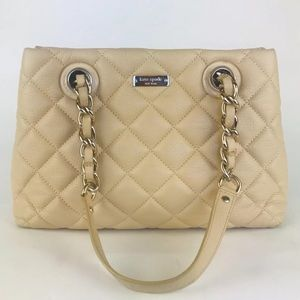 KATE SPADE Ivory Tan LEATHER Quilted Purse Handbag
